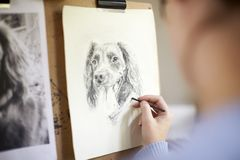 Bakre sikt av den kvinnliga tonårs- bilden för konstnärSitting At Easel teckning av hunden från fotografiet i kol arkivbild