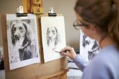 Bakre sikt av den kvinnliga tonårs- bilden för konstnärSitting At Easel teckning av hunden från fotografiet i kol royaltyfri foto