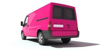 Bakre sikt av den rosa skåpbilen Arkivbild