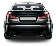 Bakre sikt av den svarta sedanbilen Royaltyfria Foton