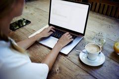 Bakre sikt av en idérik kvinnlig dator för bärbar dator för freelancersammanträdeframdel med den tomma kopieringsutrymmeskärmen u arkivfoto