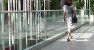 Bakre sikt av kvinnan som går i köpcentrum stock video