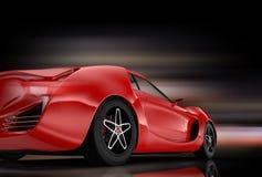 Bakre sikt av sportbilen som isoleras på svart bakgrund Arkivbilder