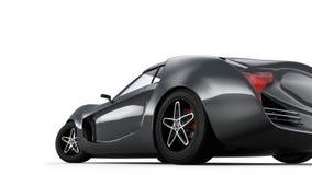 Bakre sikt av sportbilen som isoleras på vit bakgrund Royaltyfria Foton