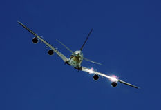 bakre sikt för 380 flygbuss Fotografering för Bildbyråer