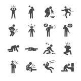 Bakrus och sjuk symbolsuppsättning Arkivfoto