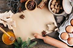 Bakselachtergrond voor Kerstmiskoekjes Royalty-vrije Stock Afbeelding