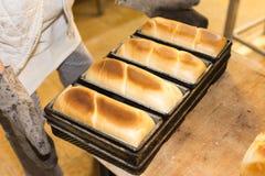 bakselgebakjes en brood in een oven bij een bakkerij royalty-vrije stock afbeelding