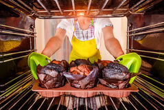 Bakselmuffins in de oven Stock Fotografie