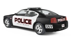 Baksida för polisbil. Sport och modern stil. Arkivfoton