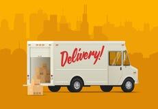 Baksida för sida för leveranslastbil Isometrisk utformad illustration Fotografering för Bildbyråer