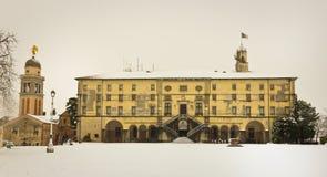 Slott av Udine med snow Royaltyfria Foton