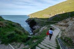Baksidan av en flicka som går ner en trappuppgång längs kustlinjen av Nya Zeeland royaltyfri bild