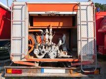 Baksidan av lastbilen för röd brand Royaltyfri Foto
