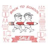 Baksidt till skolaförsäljningen royaltyfri illustrationer