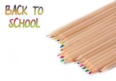 Baksidt till skolan, blyertspennor Arkivfoton