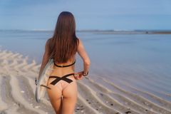 Baksikt av flickan med sexiga bakdelar i baddräkt och surfingbräda i hennes hand på stranden arkivfoton