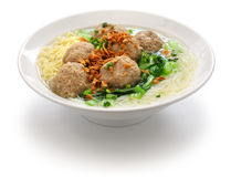 Bakso, indonesian meatball soup with noodles. Bakso, meatball soup with noodles, indonesian cuisine Stock Image