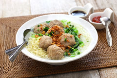 Bakso, indonesian meatball soup with noodles Royalty Free Stock Image