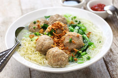 Bakso, indonesian meatball soup with noodles. Bakso, meatball soup with noodles, indonesian cuisine Royalty Free Stock Image