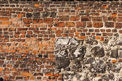 Baksteen en Steen Historische Muurachtergrond royalty-vrije stock afbeeldingen