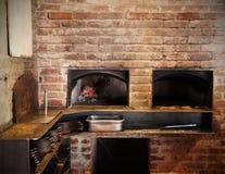 Baksteen Oven Kitchen Royalty-vrije Stock Afbeeldingen