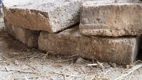 baksteen voor het buidling van Aarden Huis stock foto