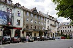 Baksteenhuis in de stad in Zakopane bij Kosciuszki-Streptokok Stock Foto