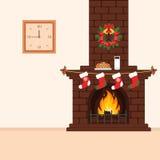 Baksteenopen haard met traktaties voor Kerstman Kerstmisillustratie in vlakke stijl Het binnenland van de ruimte Stock Fotografie