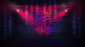 Bakstenen muren, neonstralen en gloed stock foto