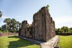 Bakstenen muren van Fort Zeelandia, Guyana stock fotografie