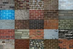 Bakstenen murencollage Stock Afbeeldingen