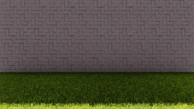 Bakstenen muur in Achter en Groene Grasvloer Royalty-vrije Stock Afbeelding