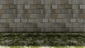 Bakstenen muur in Achter en Kleurrijke Grasvloer Stock Afbeeldingen