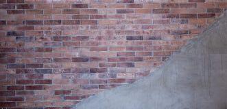 Bakstenen muur en de Achtergrond van de Cementmuur en Textuur stock foto