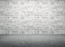 Bakstenen muur en de concrete 3d vloer binnenlandse achtergrond geven terug stock illustratie