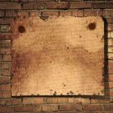Bakstenen muur en document Royalty-vrije Stock Afbeelding