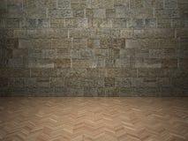 Bakstenen muur en gelamineerde vloer royalty-vrije stock afbeelding