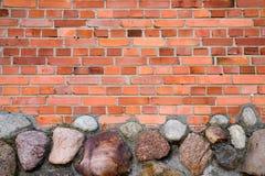 Bakstenen muur en stenen Royalty-vrije Stock Fotografie