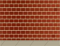 Bakstenen muur en stoepachtergrond Royalty-vrije Stock Foto's