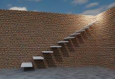 Bakstenen muur en trede aan hemel Verschillende 3d bal 3d geef illustratie terug Stock Foto