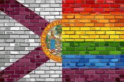 Bakstenen muur Florida en Vrolijke vlaggen - Illustratie Stock Afbeeldingen