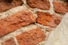 Bakstenen muur, het oude rode baksteen leggen royalty-vrije stock afbeelding