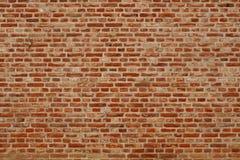 Bakstenen muur horizontale achtergrond met rode, oranje en bruine bakstenen Royalty-vrije Stock Foto