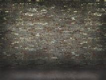 Bakstenen muur met concrete vloerachtergrond Stock Foto's