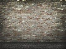 Bakstenen muur met concrete vloerachtergrond Royalty-vrije Stock Fotografie