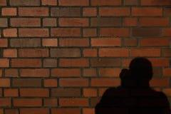 Bakstenen muur met fotograafschaduw, met tekstruimte Royalty-vrije Stock Foto's