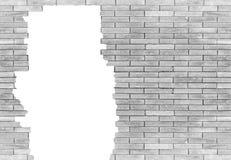 Bakstenen muur met gat op witte achtergrond wordt geïsoleerd die Royalty-vrije Stock Foto