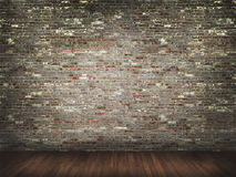 Bakstenen muur met houten vloer Royalty-vrije Stock Foto's