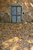 Bakstenen muur met oude deur stock foto